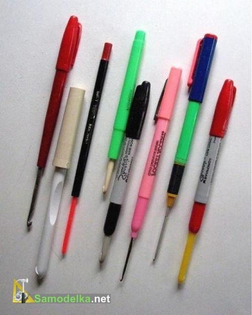 самодельные ручки для спиц и крючков из авторучек и фломастеров