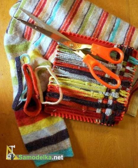 самодельная плетеная прихватка из свитера
