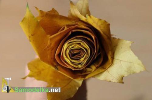 Роза из листьев клена готова